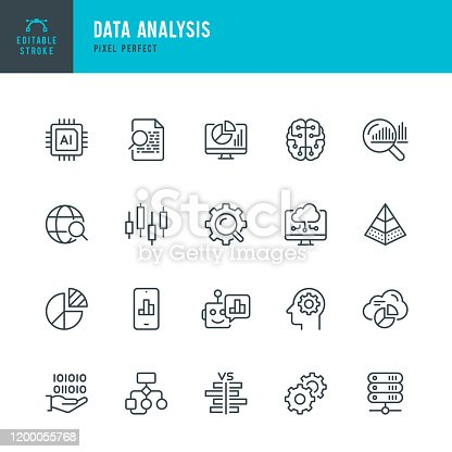 istock Data Analysis - thin line vector icon set. Pixel perfect. Editable stroke. The set contains icons: Big Data, Artificial Intelligence, Chart, Computer Chip, Diagram, Cloud Computing, Progress Report, Stock Market Data. 1200055768