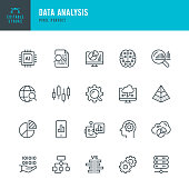 Data Analysis - thin line vector icon set. 20 linear icon. Pixel perfect. Editable outline stroke. The set contains icons: Big Data, Chart, Analysis, Artificial Intelligence, Diagram, Chart, Financial Advisor, Computer Chip, Network Server, Cloud Computing, Progress Report, Stock Market Data, Digital Brain.