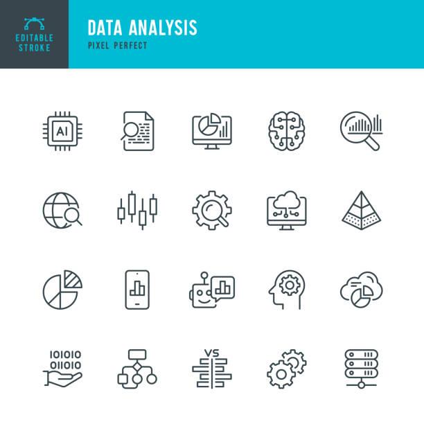 analiza danych - zestaw ikon wektorowych cienkich linii. piksel idealny. edytowalne obrys. zestaw zawiera ikony: big data, sztuczna inteligencja, wykres, chip komputerowy, diagram, cloud computing, raport postępu, dane giełdowe. - grupa przedmiotów stock illustrations