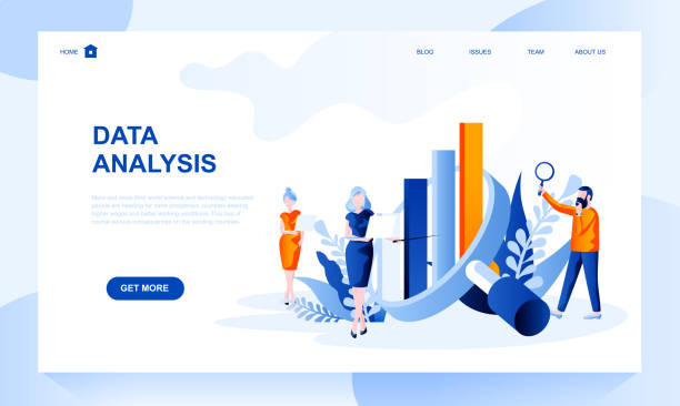 Data analysis vector landing page template with header. Information analytics web banner, homepage design with flat illustrations vector art illustration