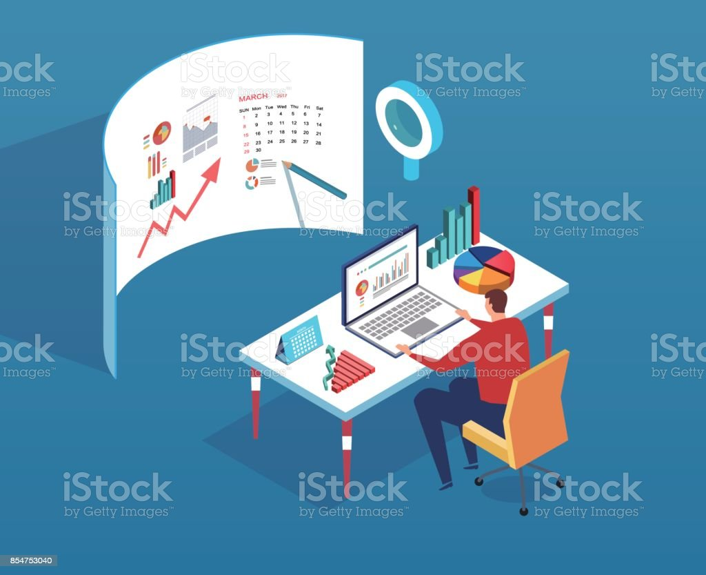 Data analyst vector art illustration