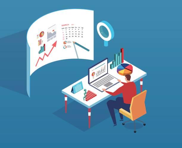 ilustrações, clipart, desenhos animados e ícones de analista de dados - gerente de projetos