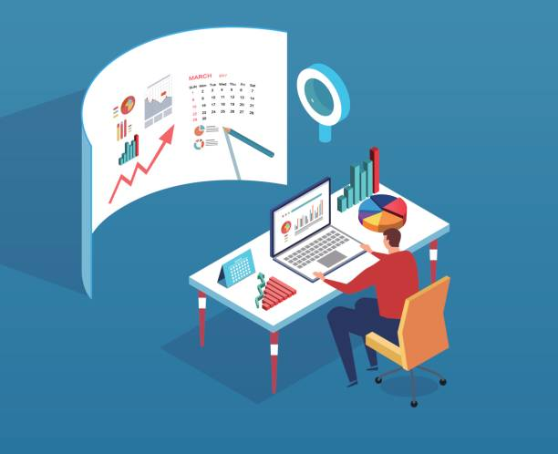 data analyst - retail worker stock illustrations