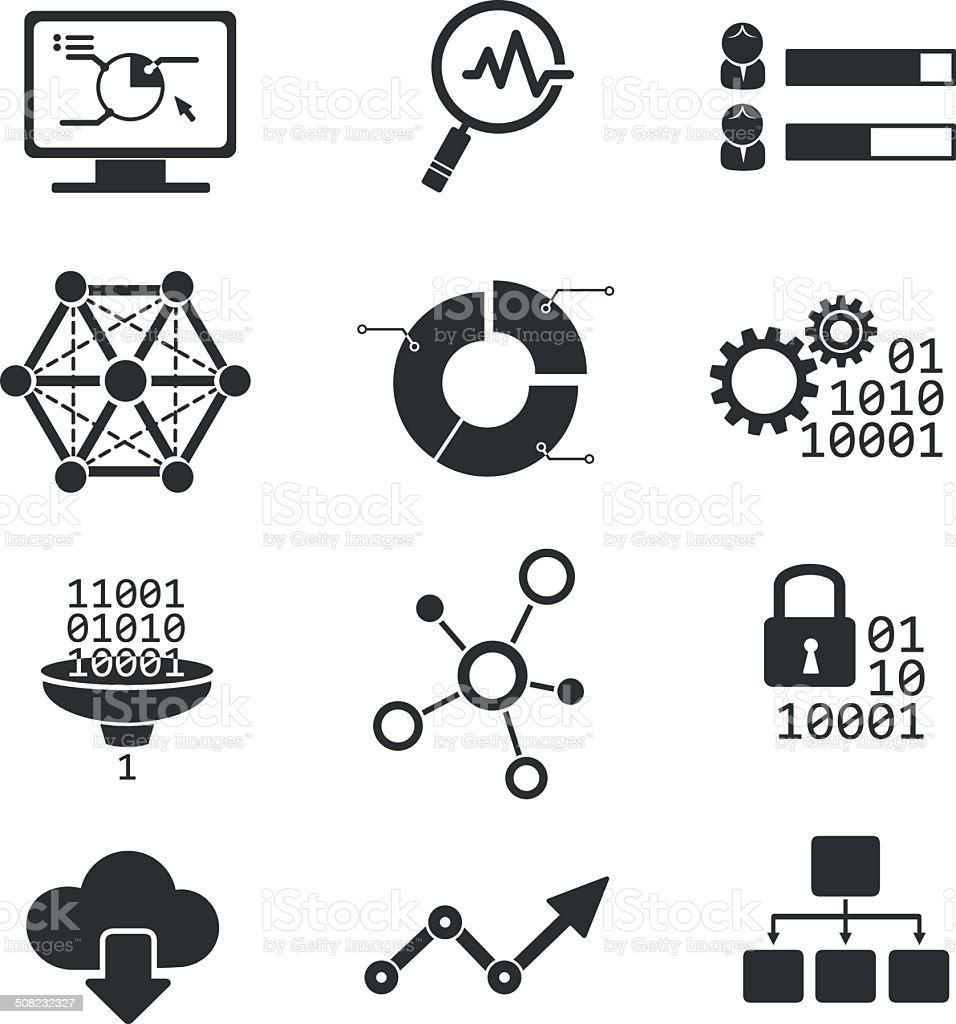 Data analytic vector icons vector art illustration