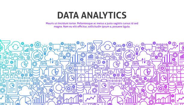 Data Analytics Concept Data Analytics Concept. Vector Illustration of Line Website Design. Banner Template. big data stock illustrations
