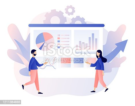 istock Data analytics consept. Business analysis. Tiny people are studying the infographic. Teamwork. Modern flat cartoon style. Vector illustration on white background 1211384693