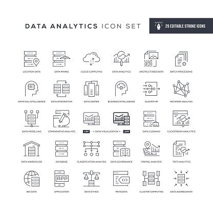 Data Analytics Editable Stroke Line Icons