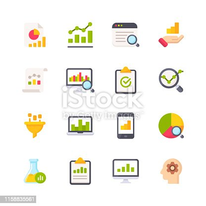 16 Data Analytics Flat Icons.