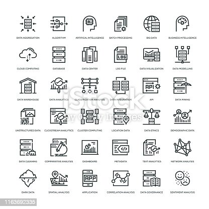 Data Analytics Icon Set -  Line Series