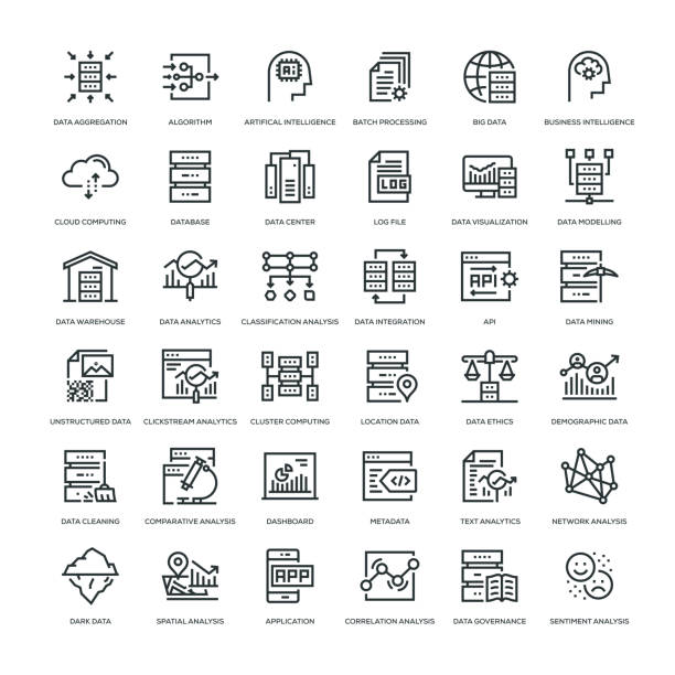 data analytics icon set - konstrukcja budowlana stock illustrations