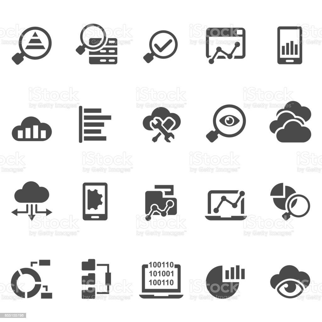 Data analytics icon set vector art illustration