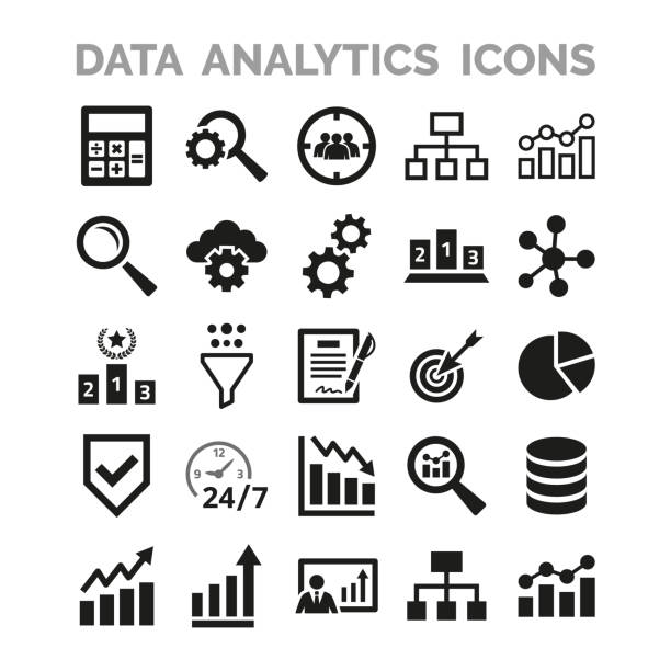 Data analytics icons set on white background. Data analytics icons set on white background. Vector Illustration data stock illustrations
