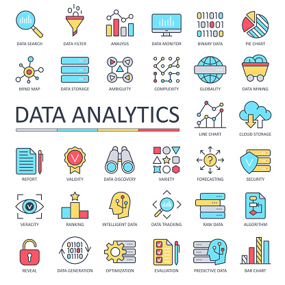 Data Analytics Line Color Icons - Vector