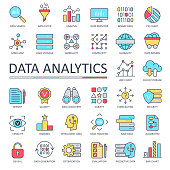 Data Analytics Line Color Icons - Vector Illustration