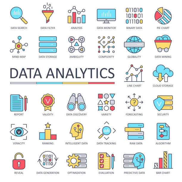 Data Analytics Line Color Icons - Vector Data Analytics Line Color Icons - Vector Illustration origins stock illustrations