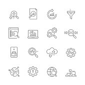 Data Analytics Line Icon Set