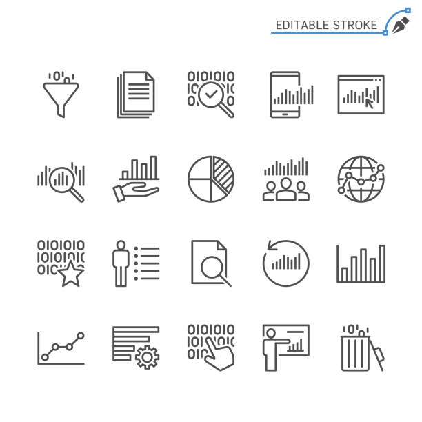 illustrazioni stock, clip art, cartoni animati e icone di tendenza di data analytics line icons. editable stroke. pixel perfect. - glass world