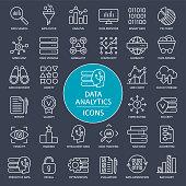 Data Analytics Line Icons - Vector Illustration