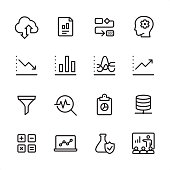 16 line black on white icons / Set #48 Pixel Perfect Principle - all the icons are designed in 48x48pх square, outline stroke 2px.  First row of outline icons contains:  Cloud Computing, Financial Report, Organization Chart, Brainstorming;  Second row contains:  Moving Down Chart, Bar Graph Chart, Dashboard Chart, Moving Up Chart;  Third row contains:  Separating Funnel, Magnifying glass and Chart, Clipboard and Pie Chart, Network Server;   Fourth row contains:  Calculator, Laptop Chart, Flask and Check Mark, Conference.  Complete Inlinico collection - https://www.istockphoto.com/collaboration/boards/2MS6Qck-_UuiVTh288h3fQ