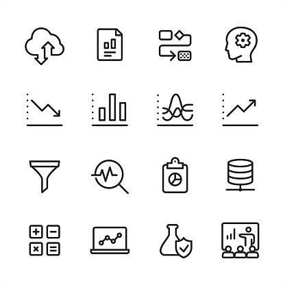 データ分析 アウトラインのアイコンを設定 - ろ過のベクターアート素材や画像を多数ご用意
