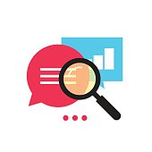 Data analytics vector icon analyzing information process