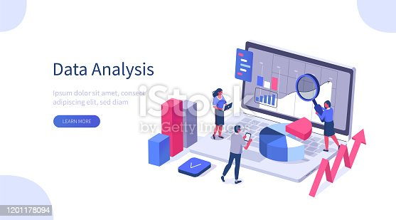 People Characters Working with Data Visualization at Laptop. Man and Woman Analyzing Tables,Charts and Graphs at Business Dashboard. Digital Data Analysis Concept. Flat Isometric Vector Illustration.