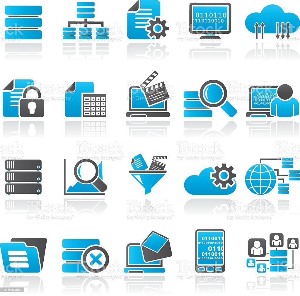data and analytics icons vector art illustration