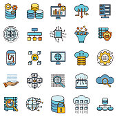 Data And Smart Technology Thin Line Icon