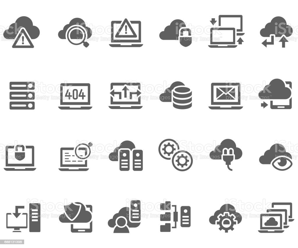 Data and technology icon set vector art illustration