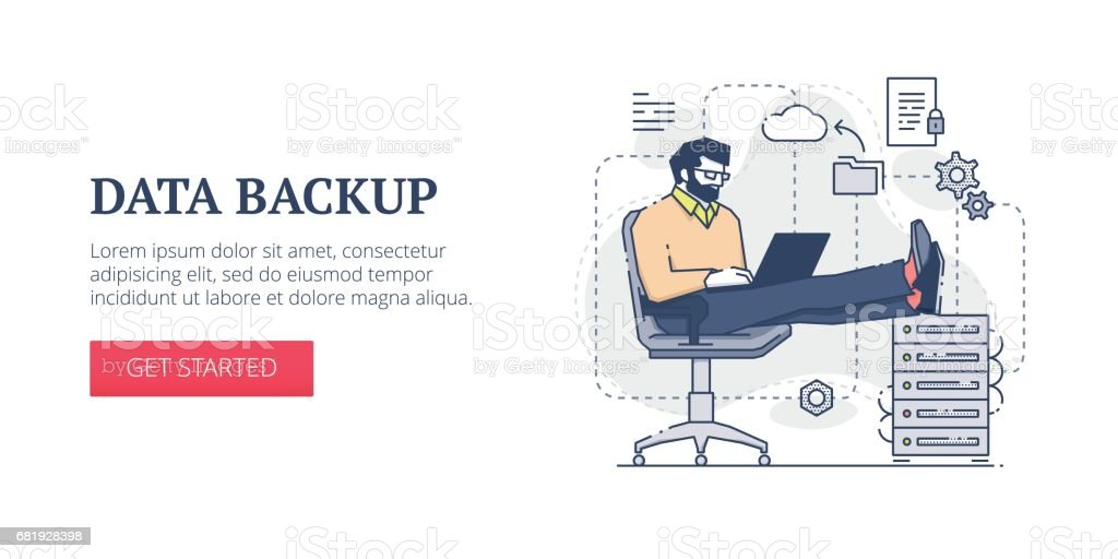 Data backup web banner vector art illustration