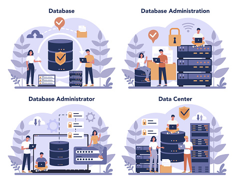 Data base administrator concept set. Female and male character
