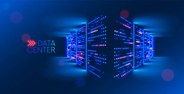 Data center. abstract digital warehouse. Server room of clouds computing technology. Server farm communication with internet. Network connection and information exchange lights glow in the dark. vector art illustration