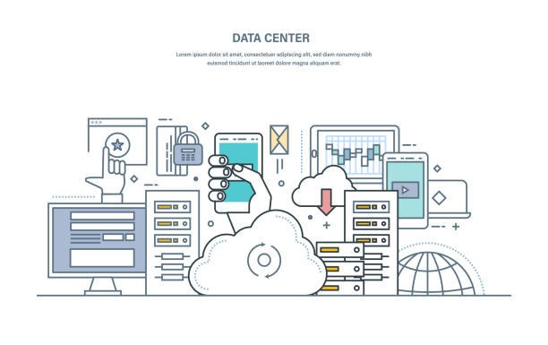 illustrazioni stock, clip art, cartoni animati e icone di tendenza di data center. cloud storage, secure data storage, web hosting server - organizzatore della festa