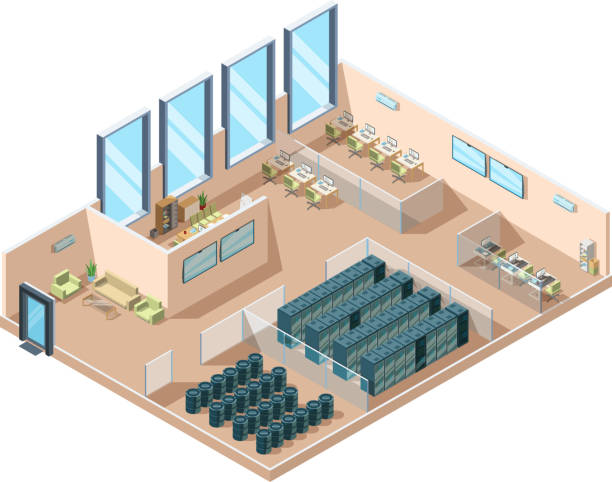 data center. computers server rooms interior cooling generators battery containers industrial data center building vector isometric - computer server room stock illustrations