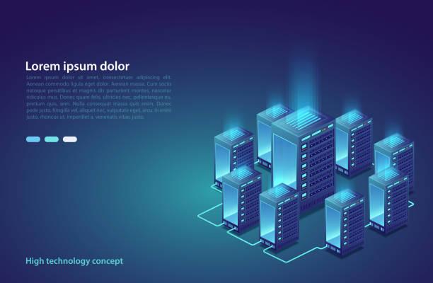 stockillustraties, clipart, cartoons en iconen met datacenter. concept van cloud opslag, overdracht van gegevens. data transmissie-technologie. - datacenter