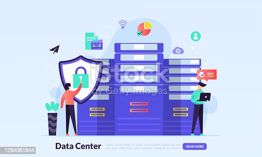 istock Data center concept, technology of data protection and processing, cloud connection hosting server, database synchronize system, flat icon,suitable for web landing page, banner, vector template 1294081844