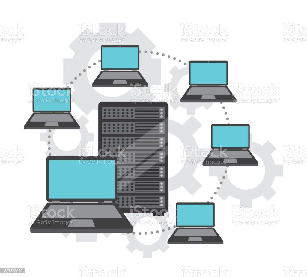 data center design vector art illustration