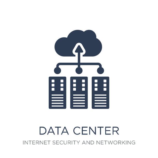 stockillustraties, clipart, cartoons en iconen met het pictogram van het centrum van gegevens. het pictogram van het centrum van trendy platte vector gegevens op witte achtergrond uit internet security en networking collectie - datacenter