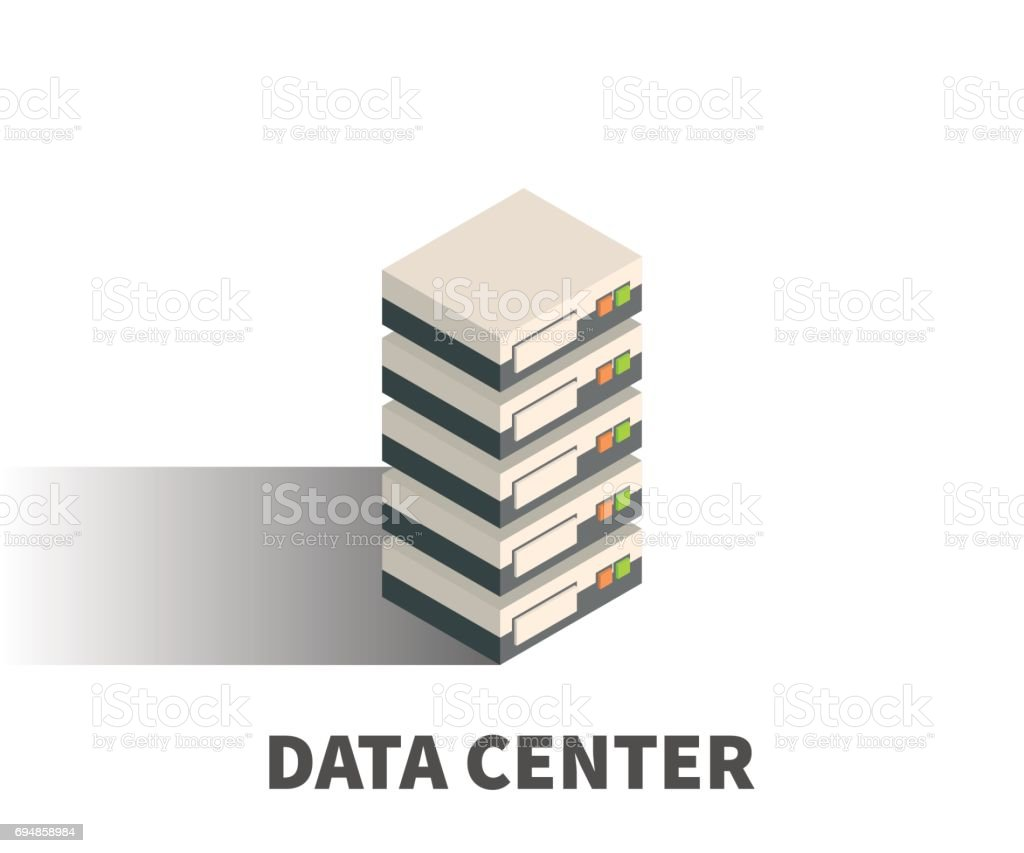 Data Center icon, vector symbol in isometric 3D style isolated on white background. vector art illustration