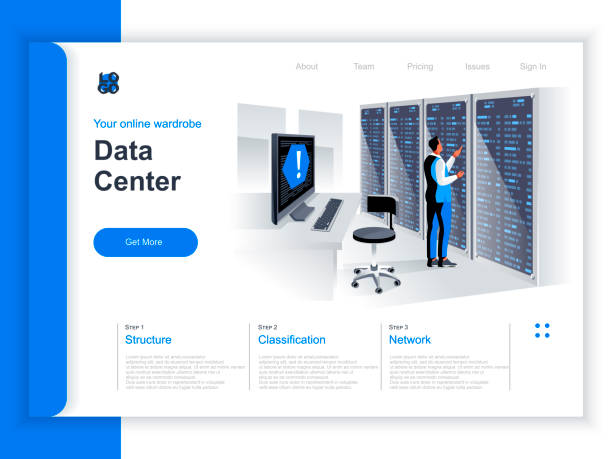data center isometric landing page. it engineer servicing server equipment at data center situation. - computer server room stock illustrations