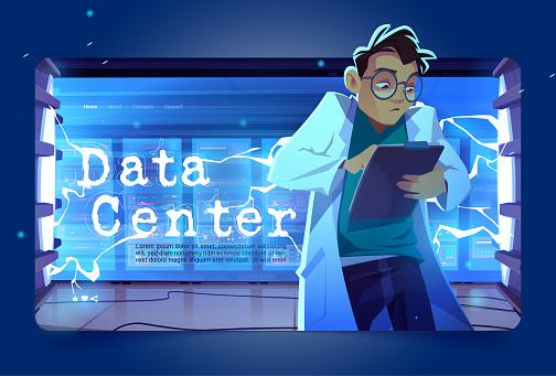 Data center landing page, geek work in server room