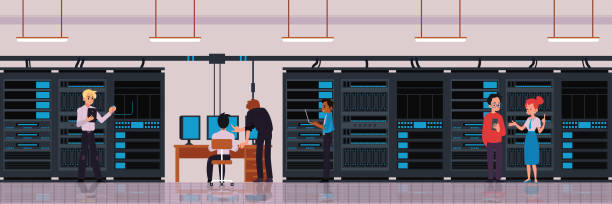 data center or server room with technology workers flat vector illustration. - computer server room stock illustrations