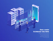 Receipt of statistics data, mobile bank, financial transaction, business planning. Smartphone, businessmans in data center room, working group isometric vector.