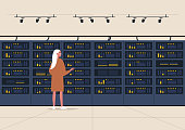 Data center, server room, young female character standing next to a hard drive rack, new technologies