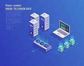 Data center, storage servers, blockchain technology isometric concept. Landing page template. Header for website. Isometric vector illustration
