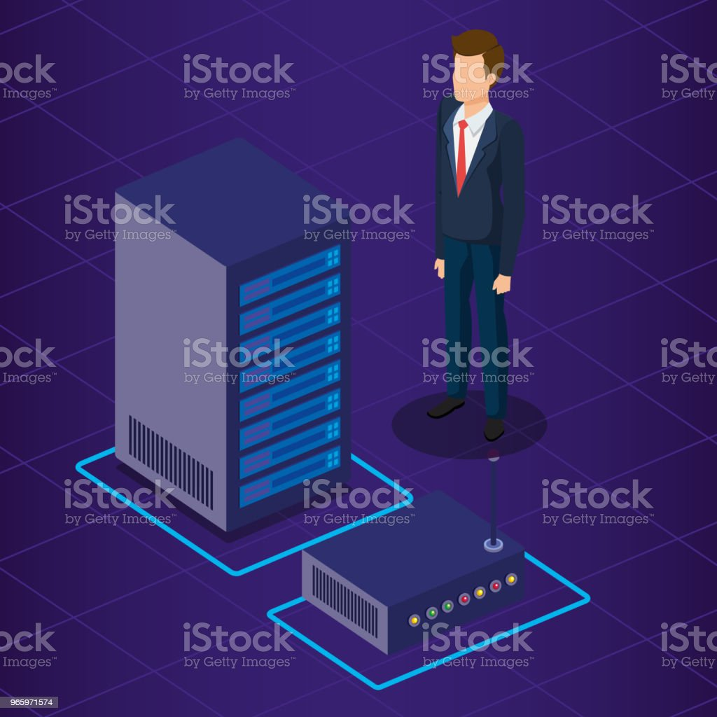 data center technology and business person isometric - Royalty-free Adult stock vector