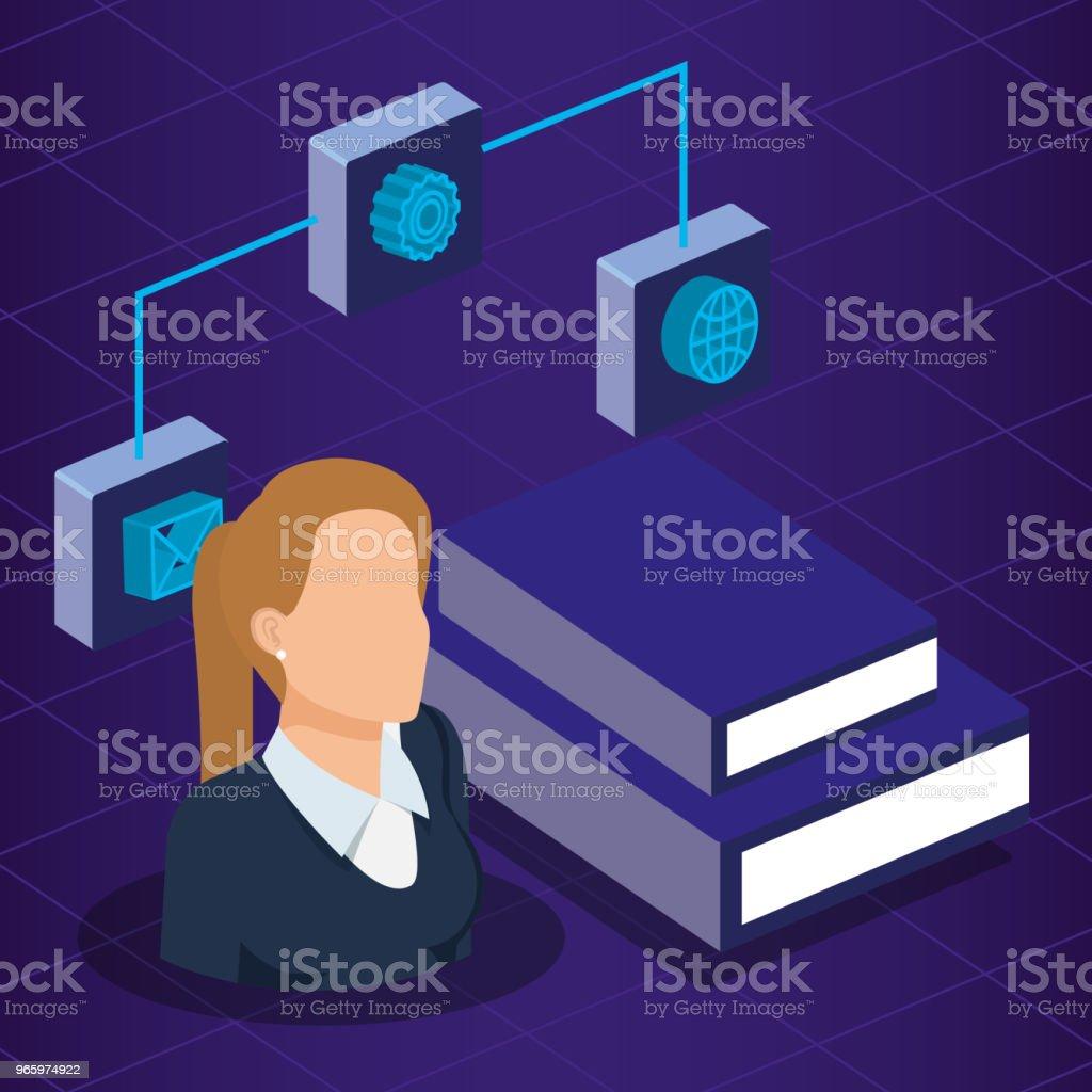 Daten Center Technologie und Business Person isometrische - Lizenzfrei Ausrüstung und Geräte Vektorgrafik