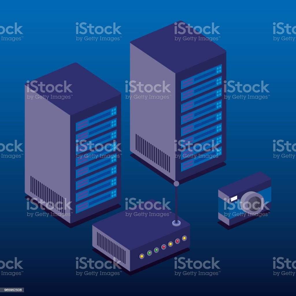 data center technology isometric icons - Royalty-free Backup stock vector