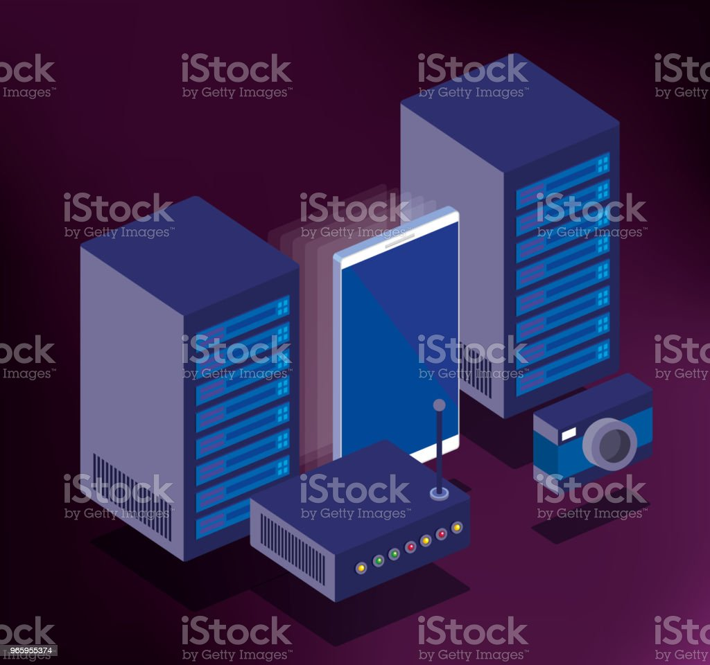 data center technologie isometrisch icons - Royalty-free Apparatuur vectorkunst