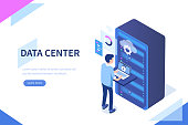 Data center concept with character. Can use for web banner, infographics, hero images. Flat isometric vector illustration isolated on white background.